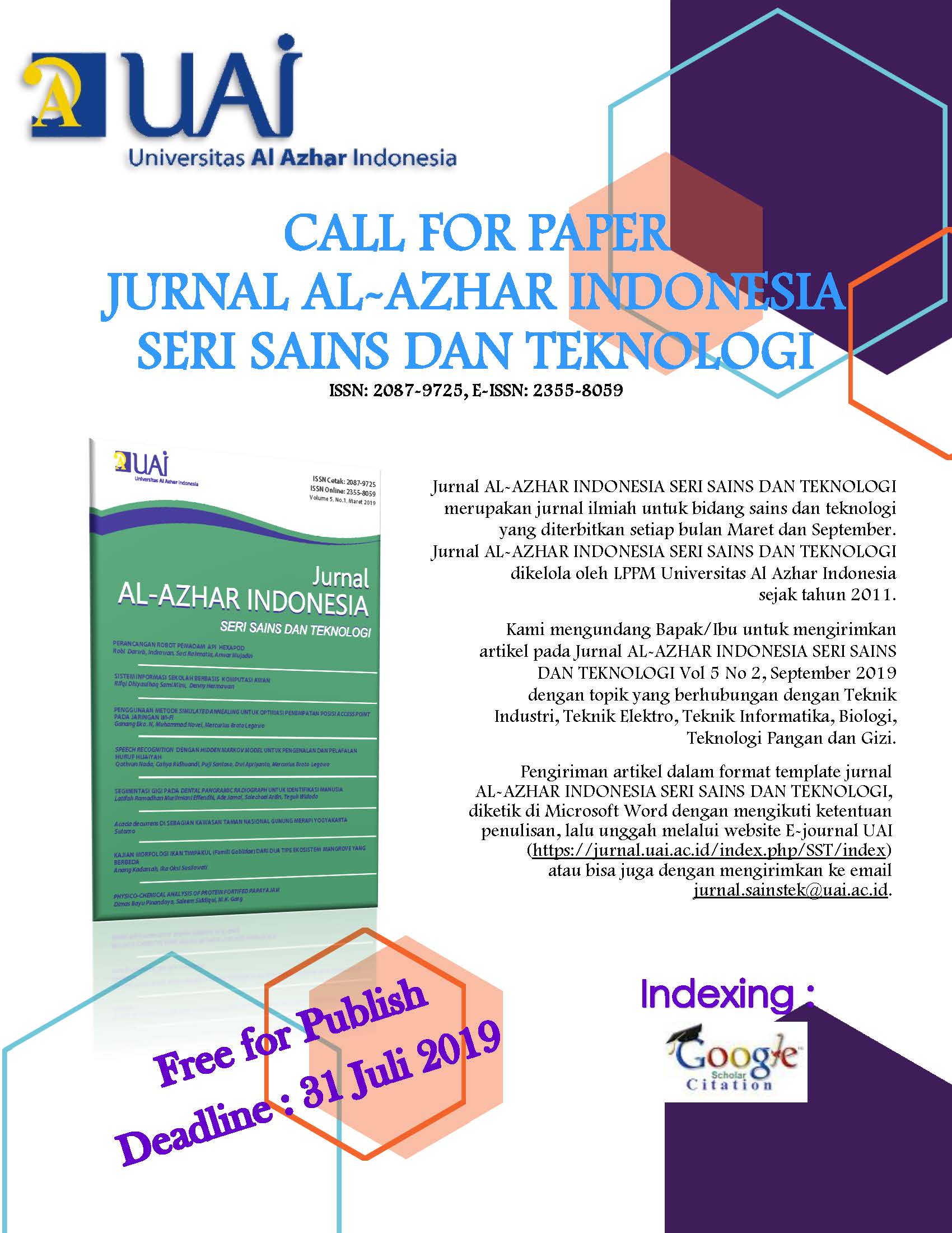 Call For Paper Sainstek Vol 5 No 2 Rev3