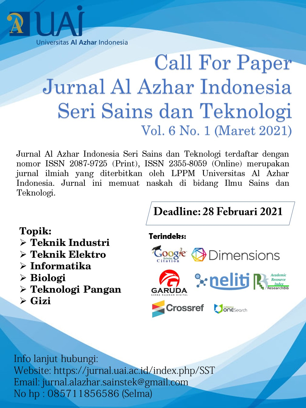 Call For Paper Sainstek Vol 6 No 1